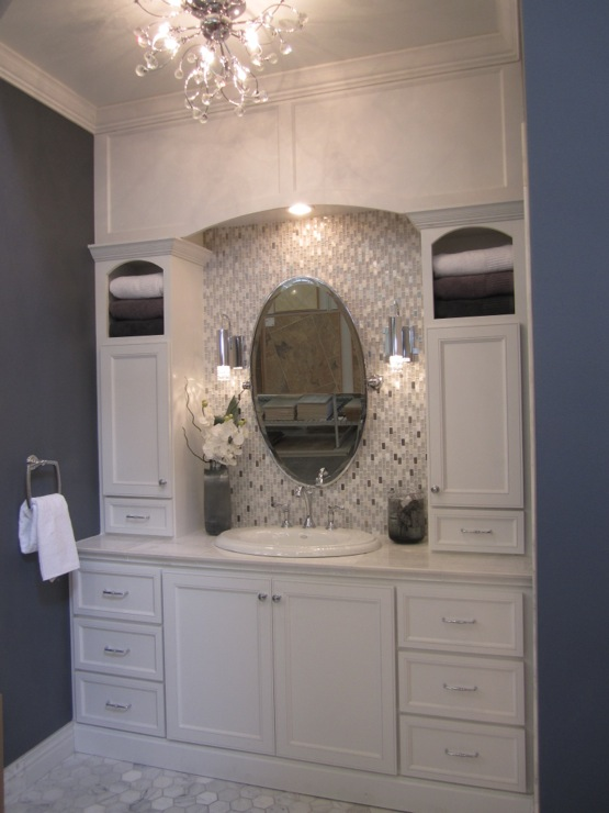 bathrooms - Sherwin Williams - Gibralter - tile from the Tile Shop, bathroom mirror, restoration hardware mirrors, restoration hardware bathroom mirrors,