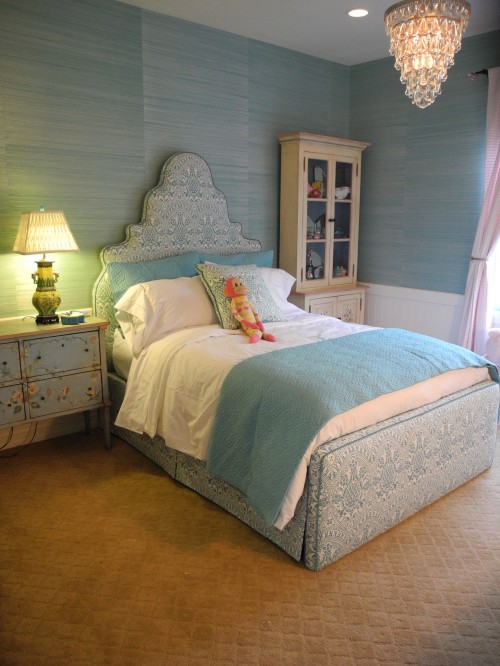 Turquoise grasscloth wallpaper contemporary girl 39 s for Turquoise wallpaper for bedroom