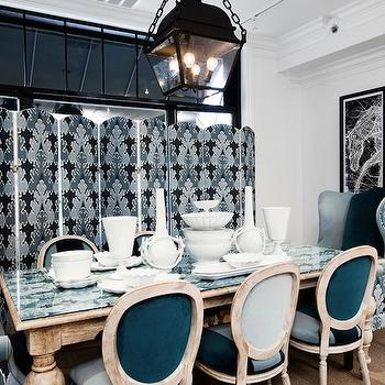 Megan Winters - dining rooms - trio, three, panel, folding screens, blue, velvet, oval, back, French, antique, dining chairs, blue, velvet, wingback, captain, chairs, white, washed, dining table, glass, fabric, top, kelly wearstler fabric, kelly wearstler pillows, kelly wearstler fabric pillows,