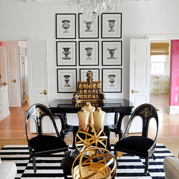 Megan Winters - living rooms - antique, black, chairs, urn, art gallery, black, frames, glossy, black, console, table, striped rug, black and white rug, black and white striped rug,