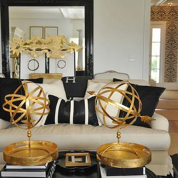 Megan Winters - living rooms - glossy, black, floor mirror, ivory, linen, sofa, black, pillows, black, gold, round, accent table, gold and black living room,
