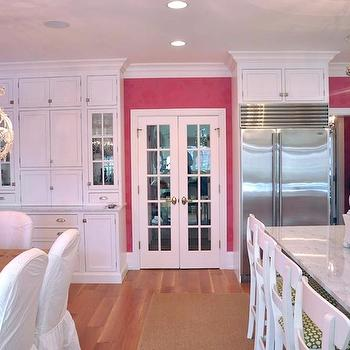 Megan Winters - kitchens - hot pink, floral, wallpaper, built-in, hutch, buffet, French doors, salvaged wood, dining table, white, slipcover, dining chairs, twin, crystal chandelier, white, kitchen island, marble, countertop, white, counter stools, green, cushions, pink kitchen,