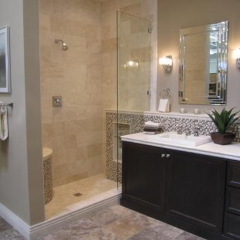 Travertine Tile Shower, Transitional, bathroom