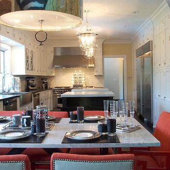 Megan Winters - kitchens - red, teal blue, nailhead trim, dining chairs, marble, top, dining table, glass-front, white, kitchen cabinets, black, granite, countertops, espresso, stained, kitchen island, marble, countertop, subway tiles, backsplash, glass, lanterns, pendants, porter pendant,