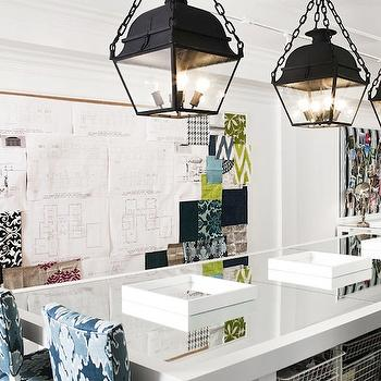 Megan Winters - dens/libraries/offices - stools, white, mirrored, island, work space, wire, storage, baskets, iron, lanterns, huge, bulletin board, office island,