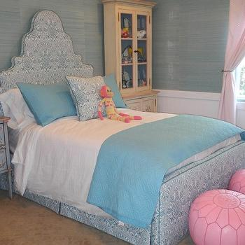 Pacific Family Homes - girl's rooms - blue, bed, chair rail, beadboard, blue, blanket, shams, pink, drapes, turquoise grasscloth, turquoise hemp wallpaper, turquoise grasscloth wallpaper, Phillip Jeffries Bermuda Hemp Turquoise Grasscloth Wallpaper, Moroccan Leather Pouf - Pink,