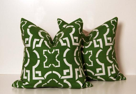 Two Kelly Green Geo Pillows by ccduexvie on Etsy