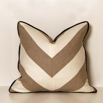 Linen Beige and White Chevron Throw Pillow by ccduexvie on Etsy