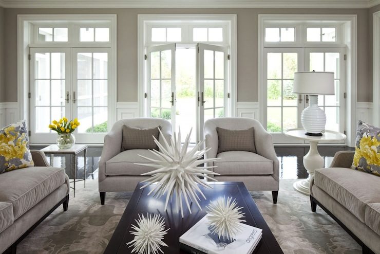 Martha O'Hara Interiors - living rooms - Benjamin Moore - Shale - Benjamin Moore White Dove, gray, yellow, pillows, greige, walls, French doors, transom, windows, chair rail, wainscoting, oatmeal, linen, accent chairs, oatmeal, linen, twin, sofas, white, pedestal, table, white, ripple, lamp, beige walls, beige paint, beige paint color, beige bedroom walls, beige bedroom paint, beige bedroom paint color,