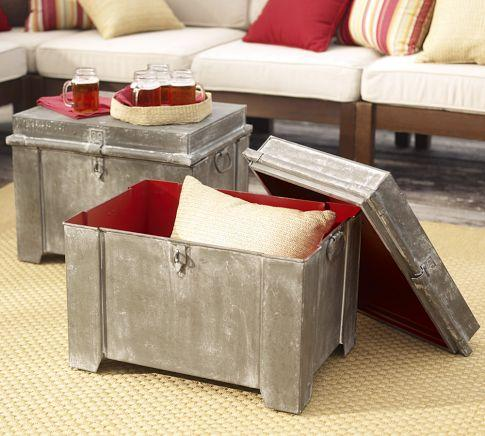 Galvanized Metal Storage Cube Pottery Barn