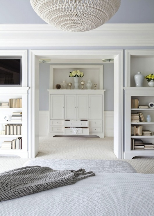 Martha O'Hara Interiors - bedrooms - Benjamin Moore - Silver Gray - Oly Studio Pipa Bowl Chandelier, blue, walls, blue, painted, ceiling, white, built-ins, bookshelves, tv, flanking ensuite, blue, bedding,