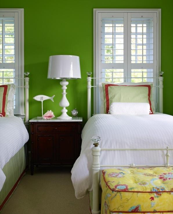 Apple green walls transitional girl s room bella mancini design