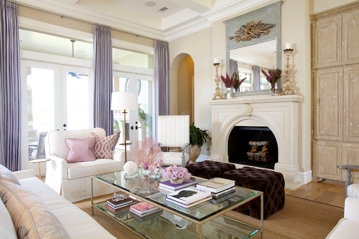 Dodson and Daughter Interior Design - living rooms - P Kaufmann, Slick, pink pillow, tan, walls, wall, French, doors, lilac, silk, drapes, fireplace, arched doorways, plum, velvet, tufted, cube, ottomans, glass-top, coffee table, white, slipcover, chairs,