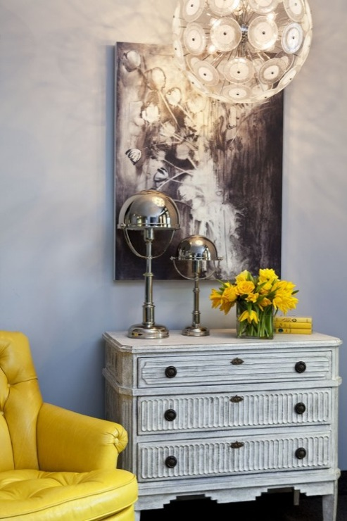 Yellow And Gray Room Contemporary Living Room