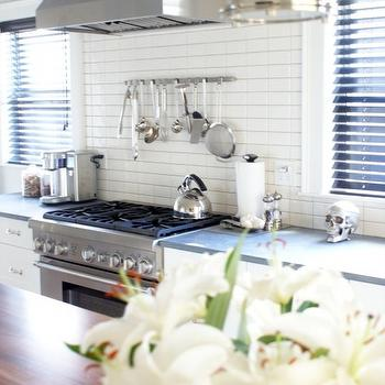 Melissa Miranda Interior Design - kitchens - kitchen island, butcher block, countertop, white, kitchen cabinets, gray, quartz, countertops, white, linear, ceramic, stacked, tiles, backsplash, utensils rack, kitchen utensils rack, cooktop utensils rack,