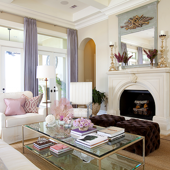 Purple Velvet Tufted Ottomans, French, living room, Dodson and Daughter Interior Design