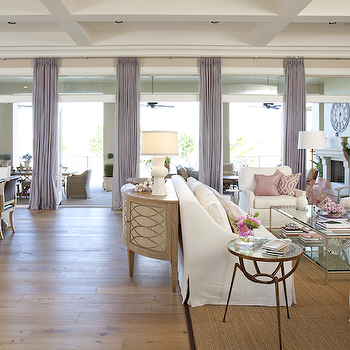 Dodson and Daughter Interior Design - living rooms - P Kaufmann, Slick, pink pillow, coffered ceiling, wall, French doors, lilac, drapes, demilune, cabinet, white, slipcover, sofa, chairs, glass-top, coffee table, fireplace, lilac curtains, lilac drapes, lilac window panels,