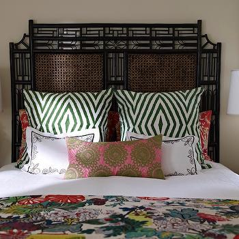 Bella Mancini Design - bedrooms - blanket, yellow, ginger jar, lamps, black, cane, headboard, silk, pink, green, doily, pillow, green, pillows, black, round, nightstands, black headboard, black bamboo headboard, faux bamboo headboard, yellow lamps, mustard yellow lamps, Chiang Mai Dragon - Alabaster,