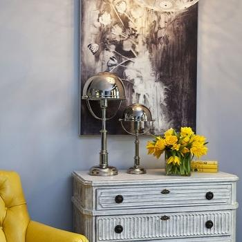 Martha O'Hara Interiors - living rooms - 3 drawer, gray, painted, chest, bright, neon, yellow, tufted, chair, abstract, art, gray, walls, modern, pendant, yellow, accents, yellow and gray rooms, gray and yellow rooms, , Cyan Design Dandelion Pendant,