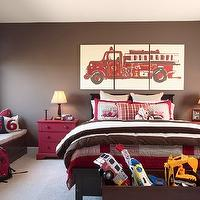 Martha O'Hara Interiors - boy's rooms - Benjamin Moore - Middlebury Brown - glossy, brown, built-in, window seat, storage, glossy, brown, bed, brown, walls, red, nightstands, red, bedding, red, 3 panel, fire truck, art, brown walls, brown paint, brown paint color,