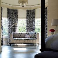 Bella Mancini Design - bedrooms - sand, grasscloth, wallpaper, bay windows, black, white, drapes, gray, tufted, modern, sofa, mirrored, top, coffee table, Moroccan, pendant, bedroom sofa, bedroom couch, beige tufted sofa,