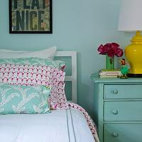 Bella Mancini Design - girl's rooms - yellow, ginger jar, lamp, turquoise, blue, walls, white, bed, white, hotel, bedding, blue, pearl, stitching, turquoise, blue, pillows, vintage, chest, painted, turquoise, blue, green, vase, art, pink, pillows, turquoise nightstand, turquoise blue nightstand,