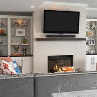 Martha O'Hara Interiors - living rooms - lined, built-ins, flanking, modern, fireplace, TV, gray, velvet, sectional, sofa, orange, chair, nailhead trim, orange, pillow, gray, walls, built-in cabinets, built-ins, living room built-ins, built-in bookcase, living room bookcase, fireplace built-ins, fireplace built-in bookcase, fireplace bookcase, floor to ceiling built-ins, floor to ceiling built in cabinets, floor to ceiling built in bookcase. lined built-ins, lined built-in cabinets, lined bookcases, lined built in bookcase, Kelly Wearstler Imperial Trellis - Charcoal,
