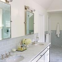 Bella Mancini Design - bathrooms - marble, tiles, floor, two-tone, double bathroom vanity, marble, countertop, double sinks, rectangular, pivot, mirrors, pale, yellow, walls, gray, glass, subway tiles, backsplash, gray subway tile shower, gray subway tile, gray subway bathroom tile, gray subway tile shower, gray subway tile backsplash, gray subway tile bathroom,
