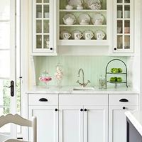 Martha O'Hara Interiors - kitchens - white, beadboard ceiling, butler's pantry, white, cabinets, marble, countertops, small, square, sink, green, beadboard, backsplash, beadboard backsplash, beadboard kitchen, kitchen beadboard, green beadboard, green beadboard backsplash,