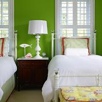 Bella Mancini Design - girl's rooms - granny smith apple, green, walls, matching, twin, white, beds, green, striped, shams, green bedskirts, red, ribbon trim, red, trim, white, lamp, yellow, tufted, ottoman, Williams-Sonoma Home Hampstead Nightstand,