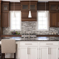 Elissa Grayer Design - kitchens - oatmeal, linen, parsons, counter stools, two-tone, white, kitchen island, coffee, stained, kitchen cabinets, granite, countertops, pot filler, gray, mosaic, glass, linear, stagger, tiles, double ovens,