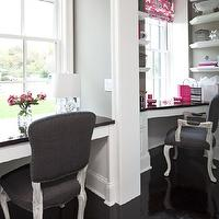 Martha O'Hara Interiors - dens/libraries/offices - pink, grey, ikat, roman shade, gray, walls, white, floating shelves, pink, accents, gray, linen, upholstered, French, chairs, silver nailhead trim, twin, nook, floating desks with glossy black countertops, glossy, ebony, hardwood, floors, gray walls, gray paint, gray paint colors, Pottery Barn Capiz Pendant, benjamin Moore White Dove,