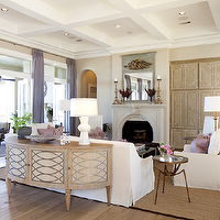 Dodson and Daughter Interior Design - living rooms - coffered ceiling, wall, French doors, lilac, silk, drapes, demilune, cabinet, white, slipcover, sofa, chairs, pink, trellis, pillows, tan, walls, half moon table, half moon cabinet, half moon console,