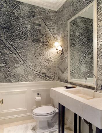 vintage map wallpaper modern bathroom gauthier stacy