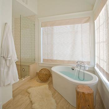 Amber Hobbs - bathrooms - seamless glass shower, subway tiles, shower surround, modern, oval, tub, tree trunk, accent table, angled bathtub, angled tub, Ikea Rens,