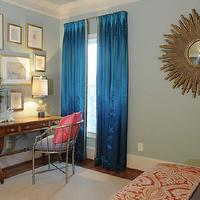 Blount Design - bedrooms - blue, gray, walls, gold, sunburst, mirror, blue, silk, pinch-pleat, drapes, metal, faux bamboo, chair, vintage, desk, art gallery, pink drapes, turquoise curtains, turquoise window panels, turquoise blue drapes, turquoise blue curtains, turquoise blue window panels,
