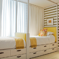 Yellow and gray girls' bedroom with twin beds with yellow headboards, yellow ...