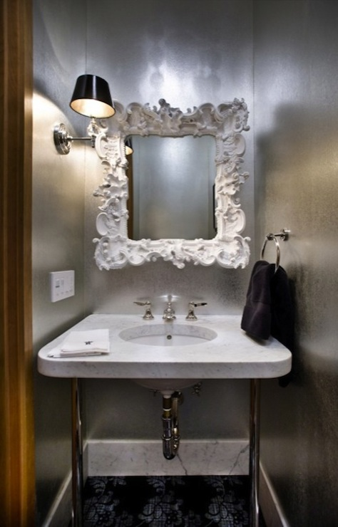 bathrooms   Brocade Home Rococo Mirror, silver, metallic wallpaper