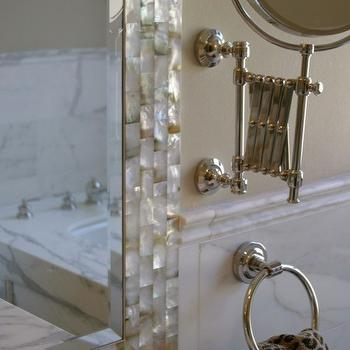 Mother of Pearl Tiles, Transitional, bathroom, Real Rooms Design