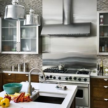 Real Rooms Design - kitchens - brown, gray, blue, mosaic, tiles, backsplash, coffee stained, kitchen cabinets, stainless steel, countertops, coffee stained, kitchen island, white, quartz, countertop, sink in kitchen island, mercury glass pendant, mercury glass chandelier, Jamie Young Lafitte Mercury Glass Pendant,