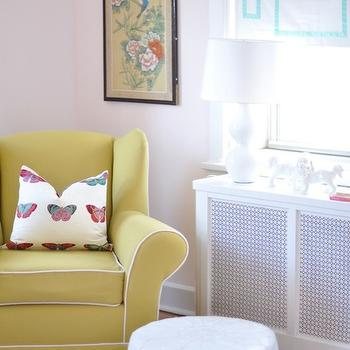 Caitlin Wilson Design - nurseries - pink, walls, yellow, wingback, rolled-arm, glider, white, piping, tone-on-tone, chevron, rug, butterfly, pillow, white, double gourd, lamp, white, roman shade, turquoise, blue, Greek key, ribbon, trim, wingback glider, wingback nursery glider, yellow nursery glider, yellow wingback glider,