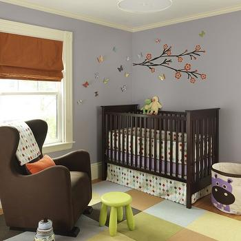Rachel Reider Interiors - nurseries - lilac, purple, walls, black, red, branch, wall decal, white, yellow, drum, pendant, multi-color, carpet, tiles, chocolate, brown crib, chocolate, brown, wingback, glider, orange, brown, pillow, lime, green, stool, silk, orange, roman shade, brown nursery glider, wingback glider, wingback nursery glider, brown wingback glider, brown wingback nursery glider, 3 Sprouts - Purple Hippo Storage Bin,