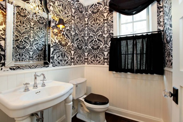 Black And White Damask Wallpaper French Bathroom