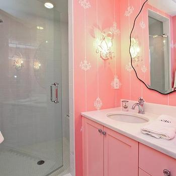 Refined LLC - bathrooms - pink, wallpaper, pink, double bathroom vanity, marble, countertop, seamless glass shower, subway tiles, shower surround, girl bathroom, girls bathroom, girl bathroom design, girls bathroom design,
