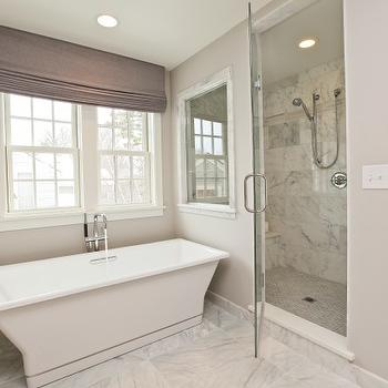 Refined LLC - bathrooms: seamless glass shower, marble, tiles, shower surround, floor, modern, freestanding, tub, lilac, gray, walls, purple, gray, linen, roman shade, gray linen roman shade, bathroom roman shade,