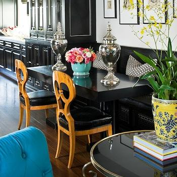 dining rooms - black, leather, built-in, banquette, chunky, glossy, black, dining table, black, kitchen cabinets, banquette, dining banquette, built-in banquette, built in dining banquette, leather dining banquette, built-in leather banquette, black banquette, black leather banquette, black leather dining banquette,