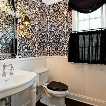 Black And White Flokced Wallpaper Transitional Bathroom
