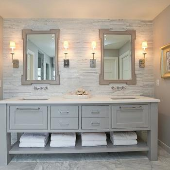Refined LLC - bathrooms - gray, mirrors, mosaic, marble, linear, stagger, tiles, backsplash, gray, blue, double bathroom vanity, white, quartz, countertop, marble, tiles, floor, gray, walls, gray bathroom, gray bathroom cabinets, gray bathroom vanity, grey bathroom,