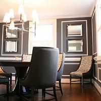 Kenneth Byrd Design - dining rooms - Jonathan Adler Ventana 2 Tier Chandelier, Hotel Maison Lafayette Chairs, Noir Table, brass sputnik, wall moulding, Hollywood Regency, Kenneth Byrd Design, gray walls, gray paint, gray paint colors, gray dining rooms, charcoal gray walls, charcoal gray paint, charcoal gray paint color, charcoal gray dining room walls, charcoal gray dining room paint, charcoal gray paint color,