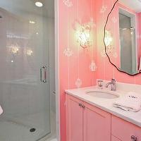 Llc bathrooms pink wallpaper pink double bathroom vanity